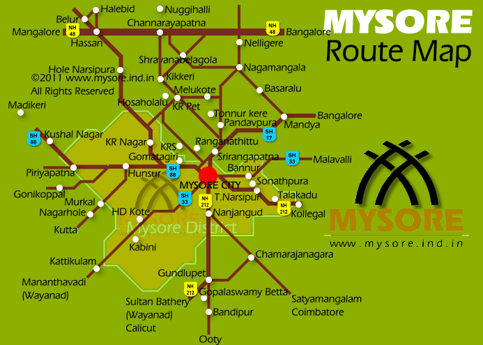 Road map for Mysore. All the road are not shown. Map not to scale.