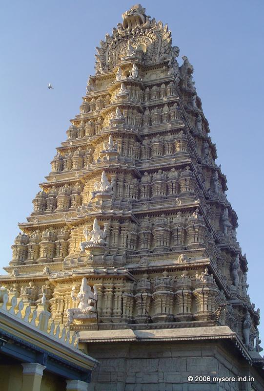 Chamundeswari temple, dedicated after goddesses Chamundeswari the presiding deity of the Maharajas of Mysore . This is located atop the Chamundi Hills