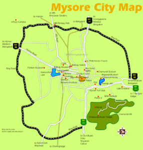 Mysore City Map. The Mysore Ring Road almost encircles the city. Note the location of Chamundi Hills on the southeast quarter of the map.
