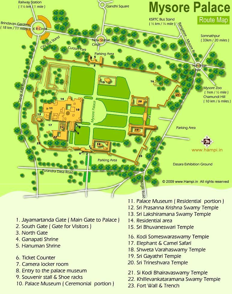 Mysore Palace Map