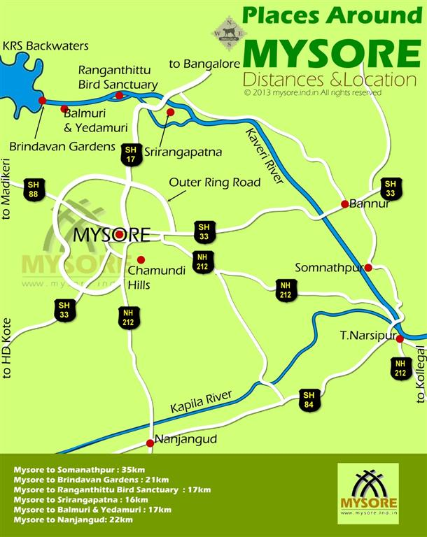 Distance & Location Map for Places around Mysore