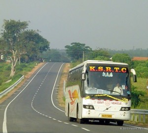 KSRTC Airavat (Volvo) bus on Mysore to Madikeri route (Hunsur road )