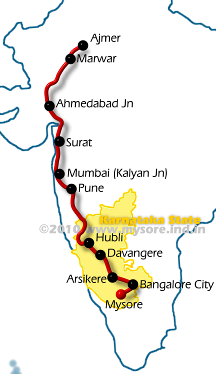 Route of Mysore-Ajmer Express Train No:6209/6210. Note all the stops are not shown in the route map