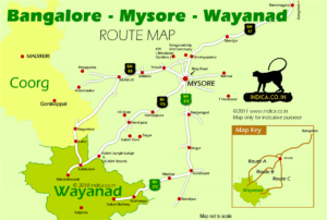 Bangalore - Mysore - Wayanad route map.