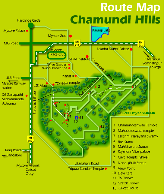 Chamundi Hill route map