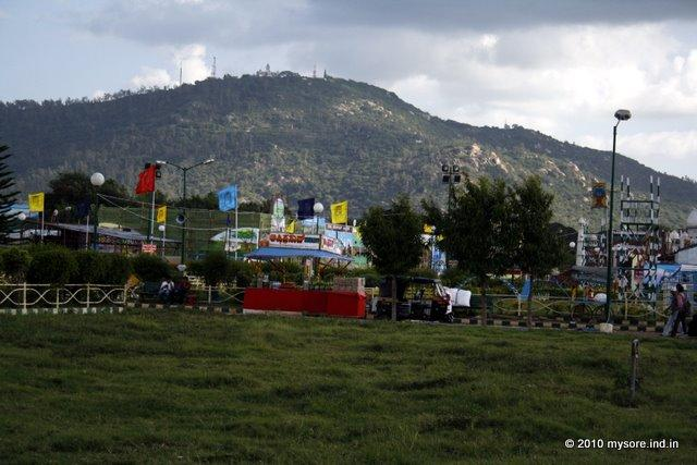 Chamundi Hill seen from the Dussera Exhibition grounds