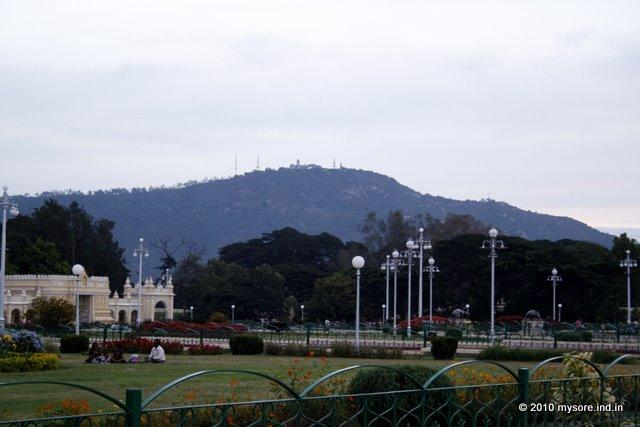 Chamundi Hill seen from Mysore Palace