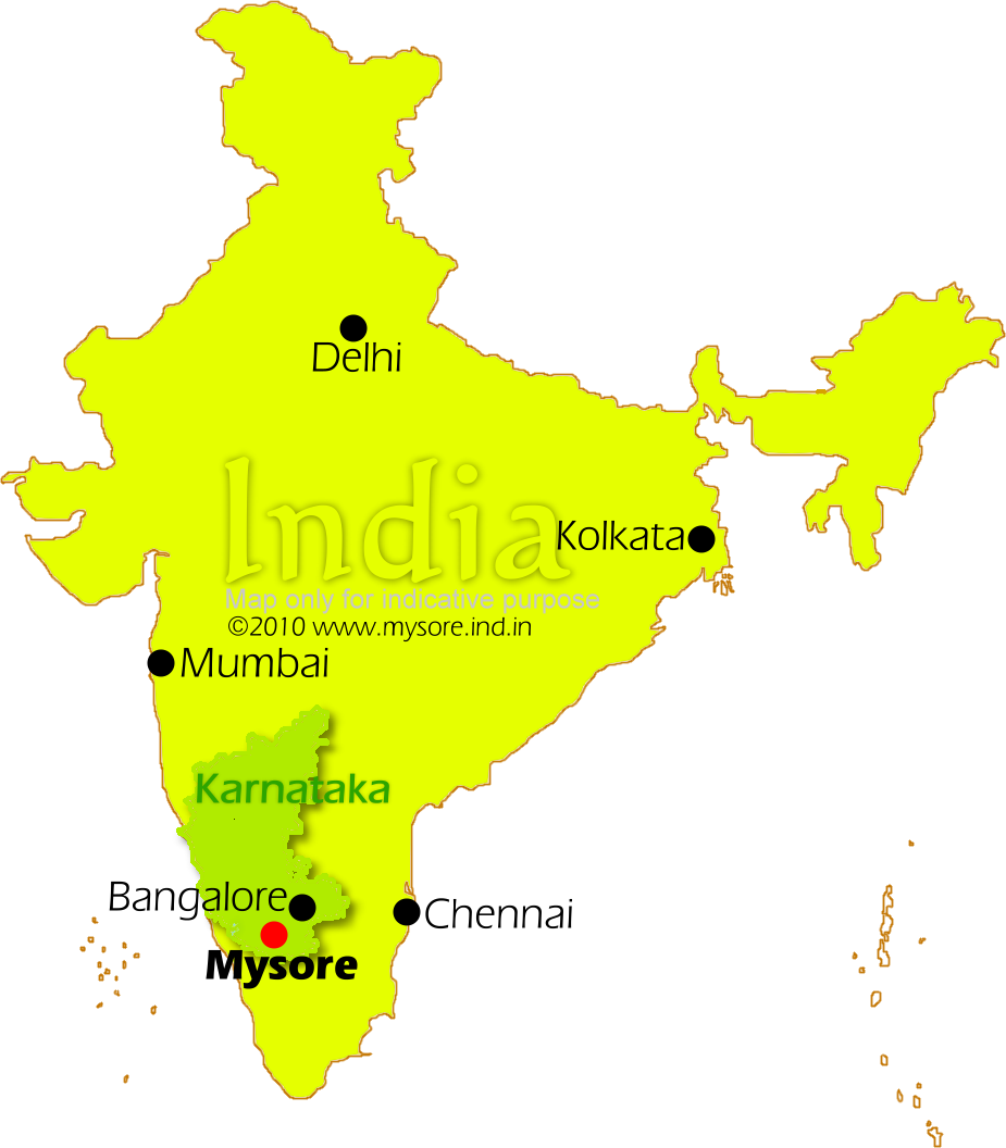 Location of Mysore on India map  Location of Mysore on India map