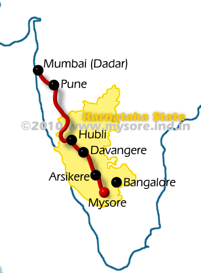 Route of Sharavati Express ( Train No:1036 / 1035 )