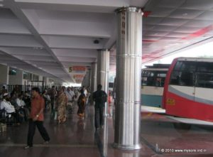 Waiting launch and platforms in KSRTC Bus stand, Mysore
