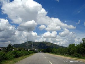 Outer Ring Road joins NH212 at the base of the Chamundi Hills