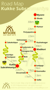 Mysore to Kukke Subrahmaniya Road Routes with distances