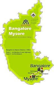 Bangalore – 50km -> Ramnagara – 30km -> Maddur – 20km -> Mandya- 22km -> Srirangapatna – 13km -> Mysore City.