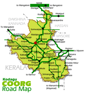 Road Map with major attractions in Coorg