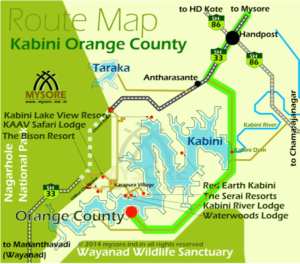 Driving direction and route for Orange County Kabini.