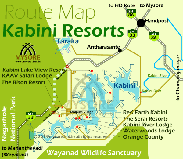 Location and route map for Resorts in Kabini