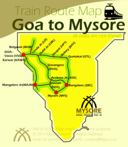 Various train route options between Goa and Mysore