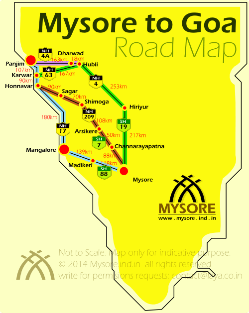 Mysore to Goa Road Map
