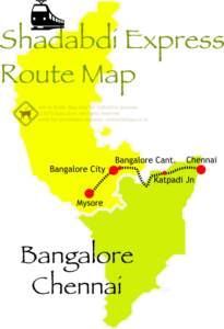 Chennai Bangalore Mysore Shadbdi Express Route Map