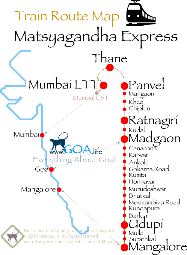 Matsyagandha Express Route Map for Mangalore from Mumbai