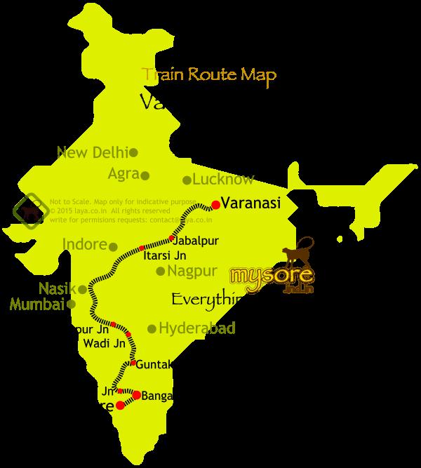 Varanasi Mysore Express Route Map Varanasi Mysore Express Route Map - Varanasi map